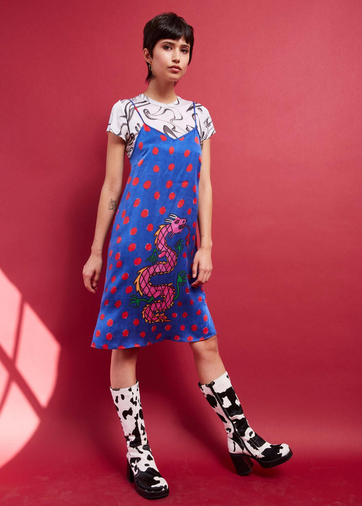 PAOM, Print All Over Me, digital print, design, fashion, style, collaboration, gentlethrills, Slip Dress, Slip-Dress, SlipDress, DRAGON, autumn winter spring summer, unisex, Silk, Dresses