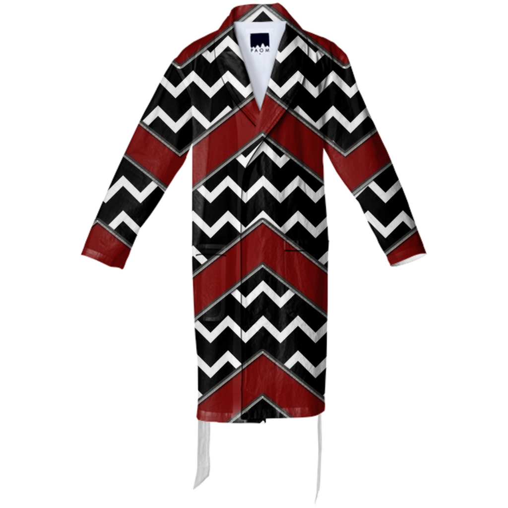 Black White Red Chevron Cotton Robe