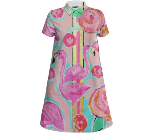FLAMINGO SHIRT DRESS