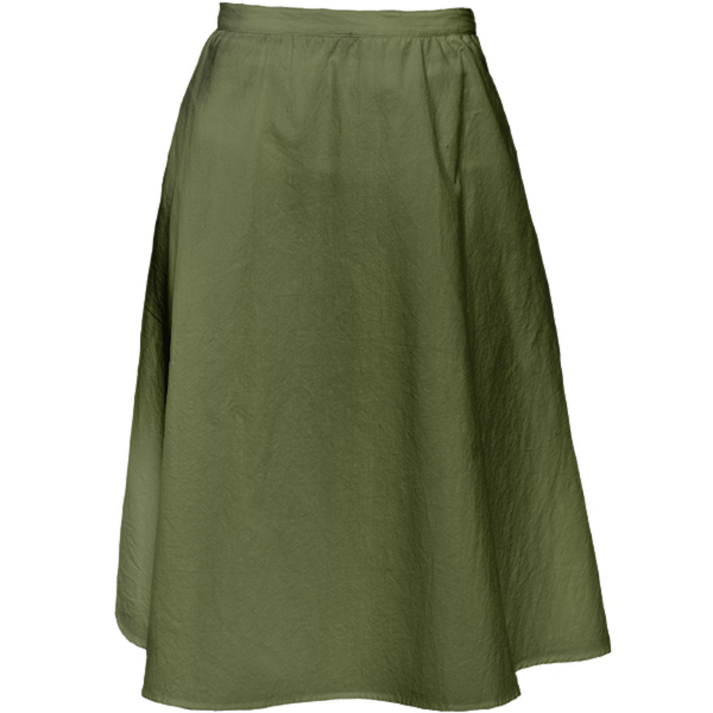 Solid Army Green Color Midi Skirt