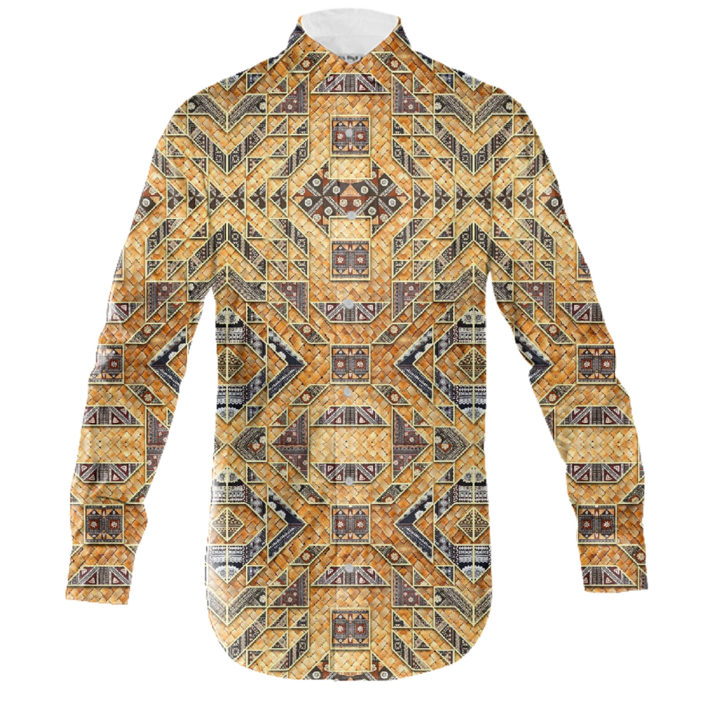 PAOM, Print All Over Me, digital print, design, fashion, style, collaboration, babyboofiji, Men's Button Down, Men's-Button-Down, Men'sButtonDown, Fiji, Masi, Palm, leaf, woven, matt, autumn winter spring summer, mens, Cotton, Tops