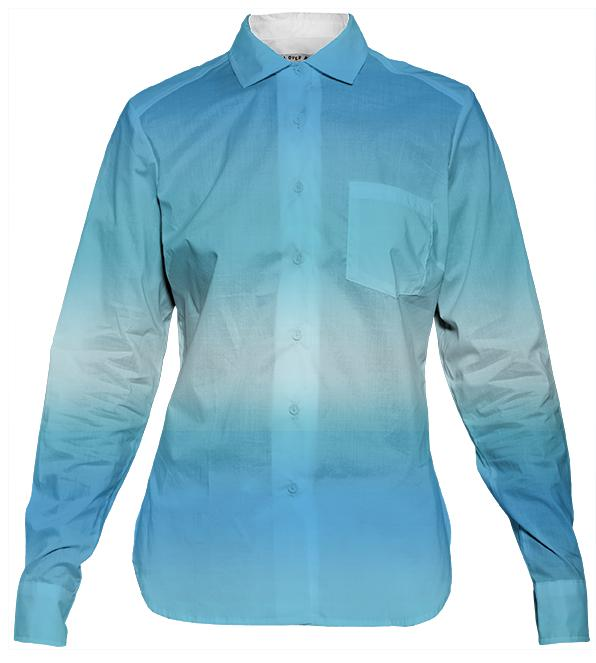Blue Ombre Ladies Button Down Shirt