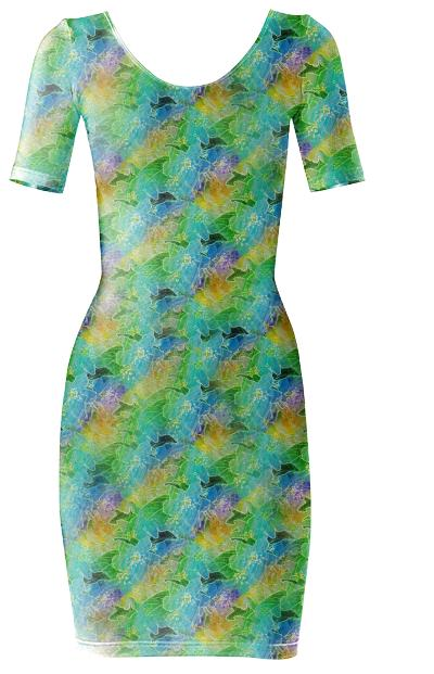 Colorful Glow Floral Print Body Dress