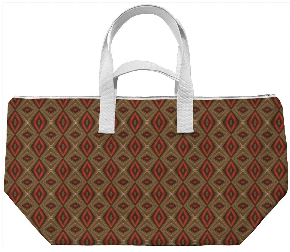 Red And Gold Abstract Print Weekend Bag