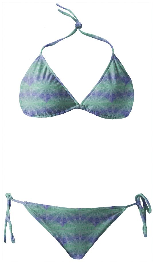 Purple And Green Spiral Pattern Bikini