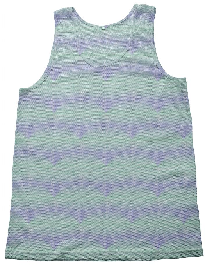 Purple And Cyan Spiral Pattern Mesh Tank