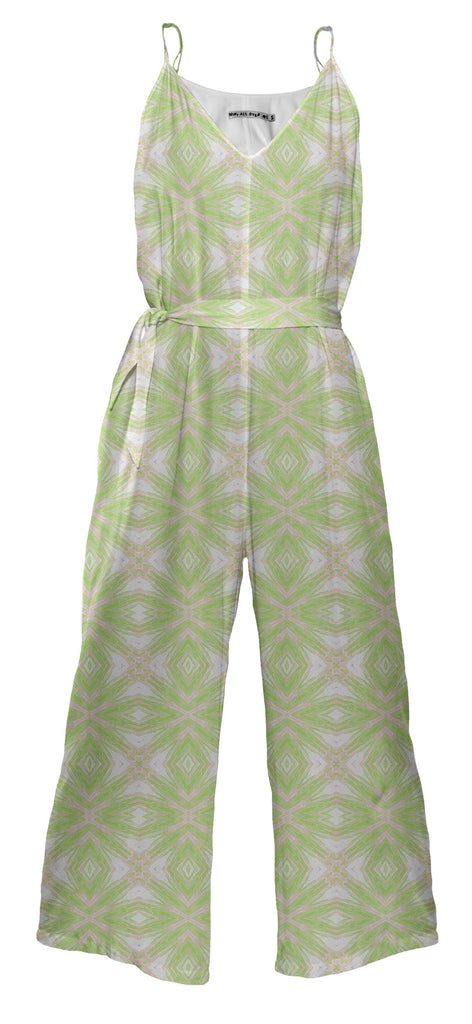 Green And Peach Lattice Jumpsuit