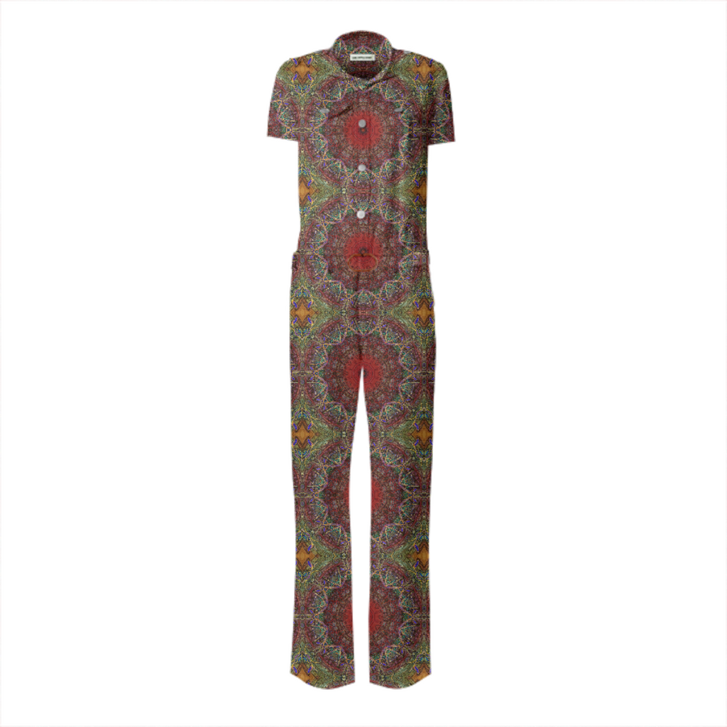 Red Green Kaleidoscope Belted Jumpsuit