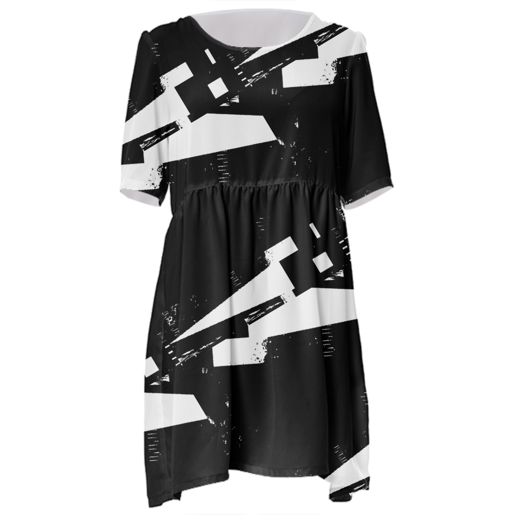 B&W Baby Doll Dress