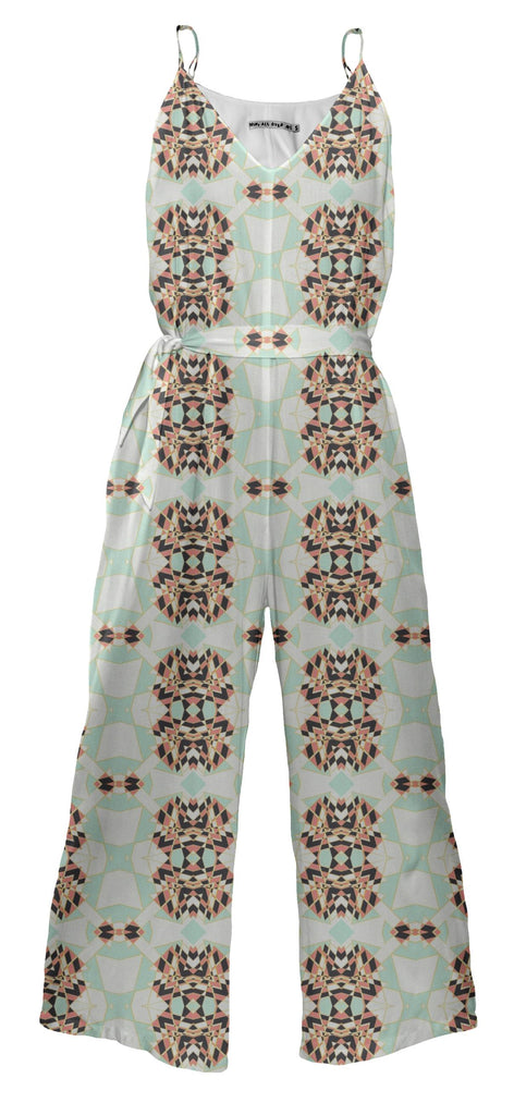 Geometrical shattered blue and coral diamond jumpsuit
