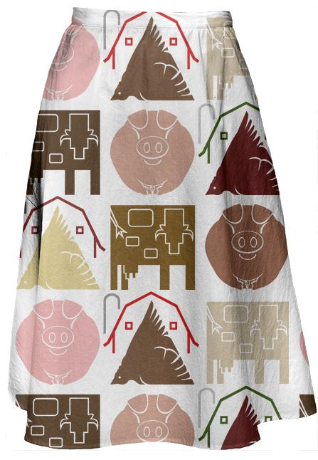 Farm Animal Midi Skirt
