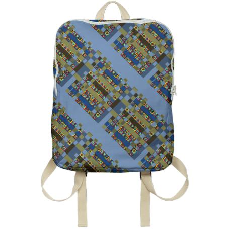 square blue backpack