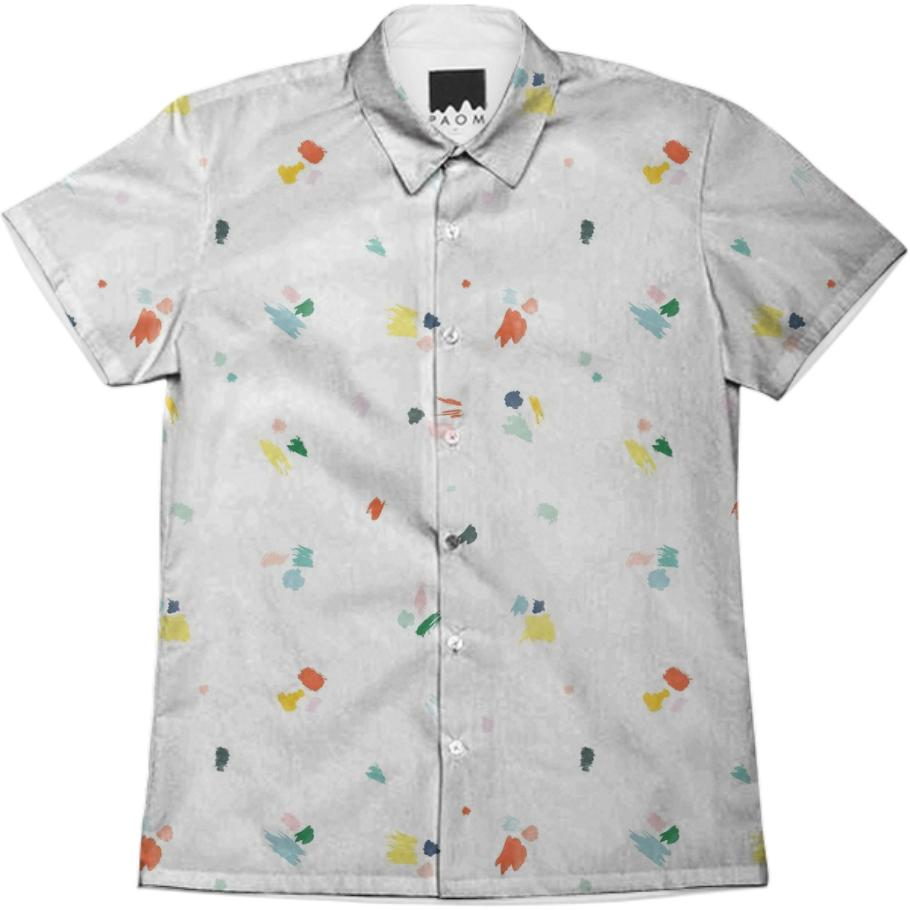 PAOM, Print All Over Me, digital print, design, fashion, style, collaboration, sugarandcloth, Short Sleeve Workshirt, Short-Sleeve-Workshirt, ShortSleeveWorkshirt, Paint, Splatter, Men, Shirt, spring summer, unisex, Cotton, Tops