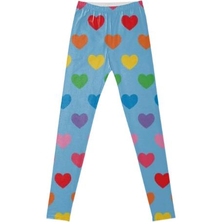 Lt blue rainbow heart leggings