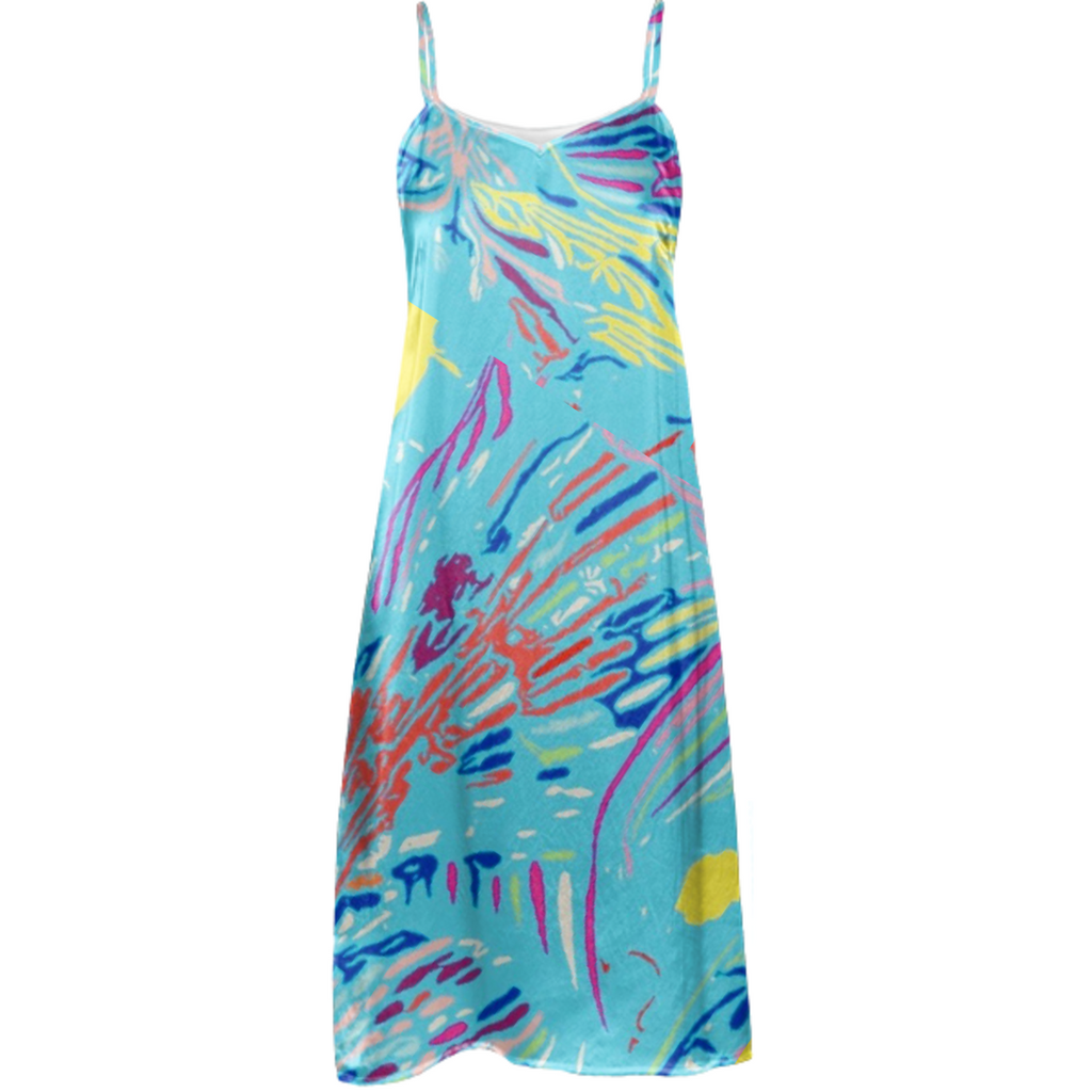 blue trop silk dress 5