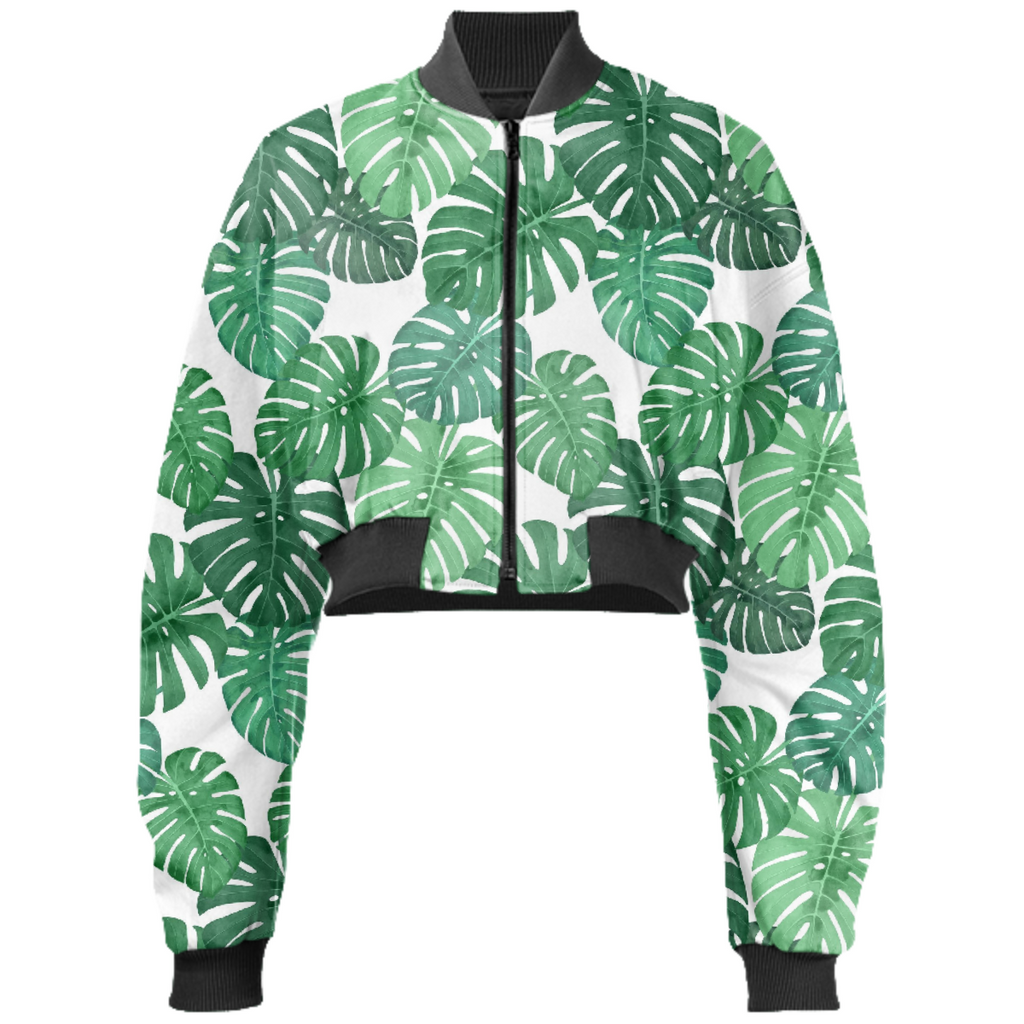 Monstera Jungle Cropped Bomber Jacket by Frank-Joseph