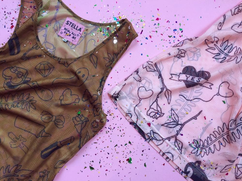 PAOM, Print All Over Me, digital print, design, fashion, style, collaboration, itsstellarose, Mesh Tank, Mesh-Tank, MeshTank, Tattoo, Chocolate, spring summer, unisex, Poly, Tops