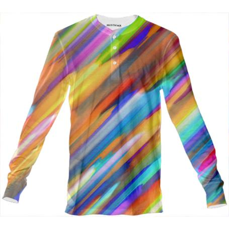 Colorful digital art splashing G391 HENLEY SHIRT