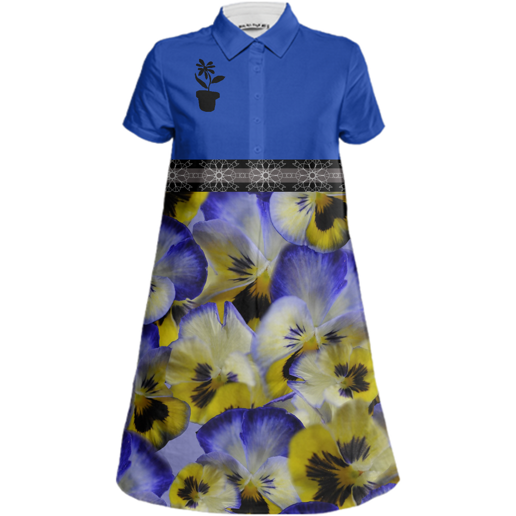 Yellow and Blue Pansies Mini Shirt Dress