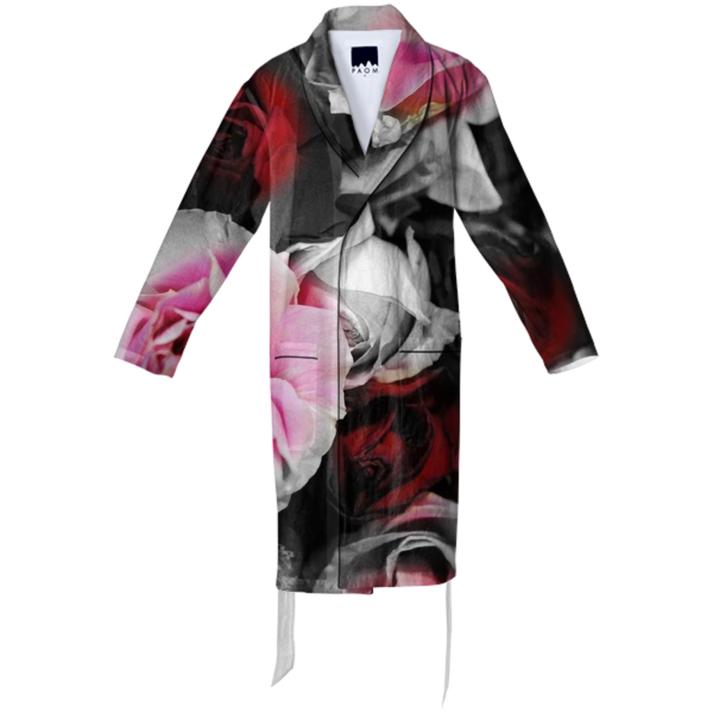 Black and White Roses Fade Cotton Robe