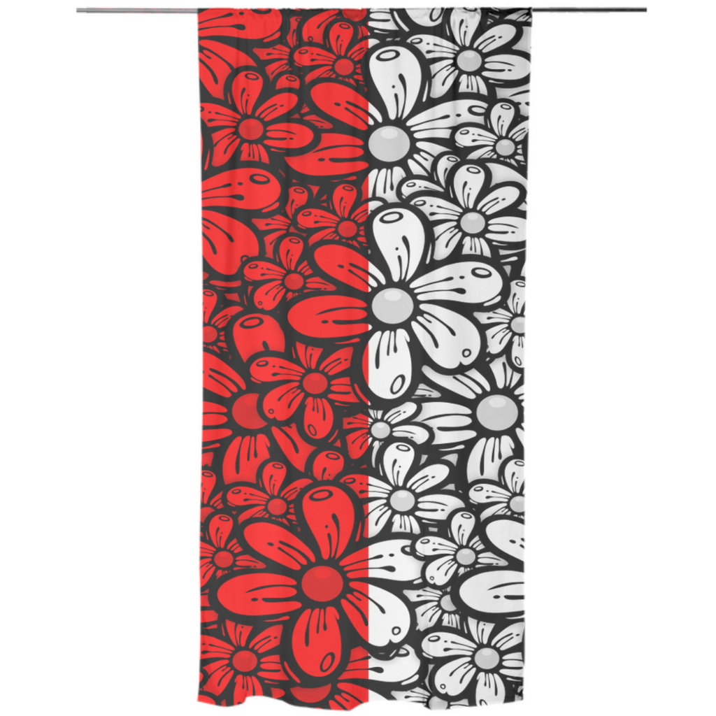 Red daisy Curtain