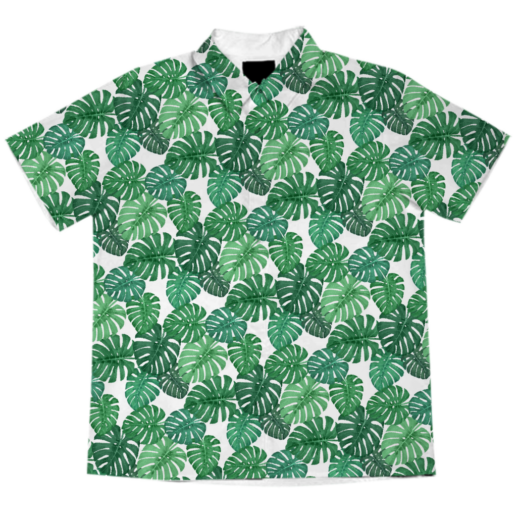 Monstera Jungle Short-Sleeve Blouse by Frank-Joseph
