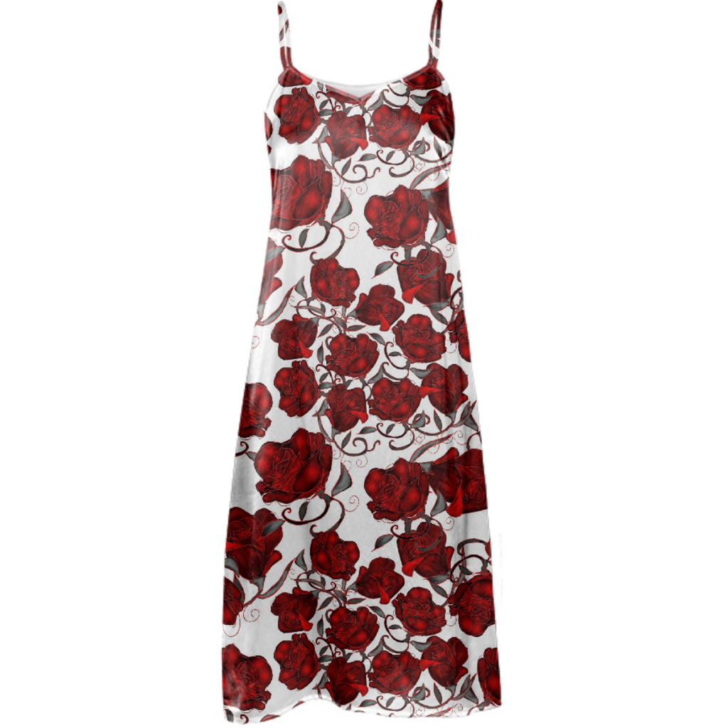 Red Roses on White Slip Dress