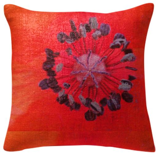 Pillow red poppy