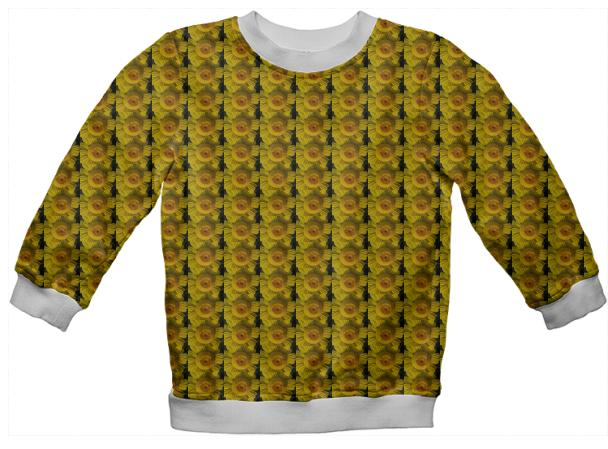 Kids sweatshirt many yellow daisies