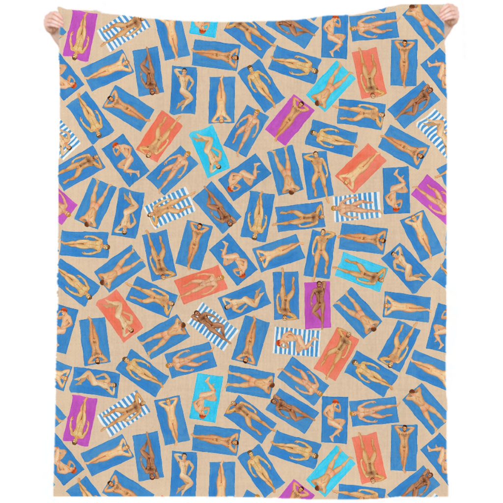 Dude Beach linen beach throw, by Frank-Joseph