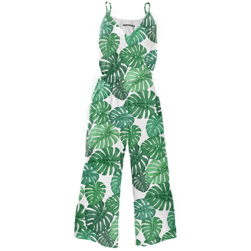 Monstera Jungle Tie-Waist Jumpsuit by Frank-Joseph