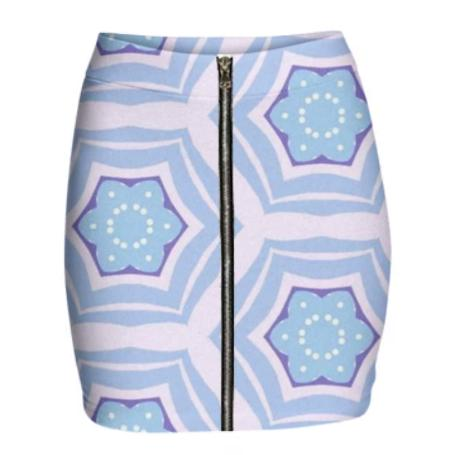 PASTEL BLUE AND WHITE PATTERN MINI ZIP SKIRT