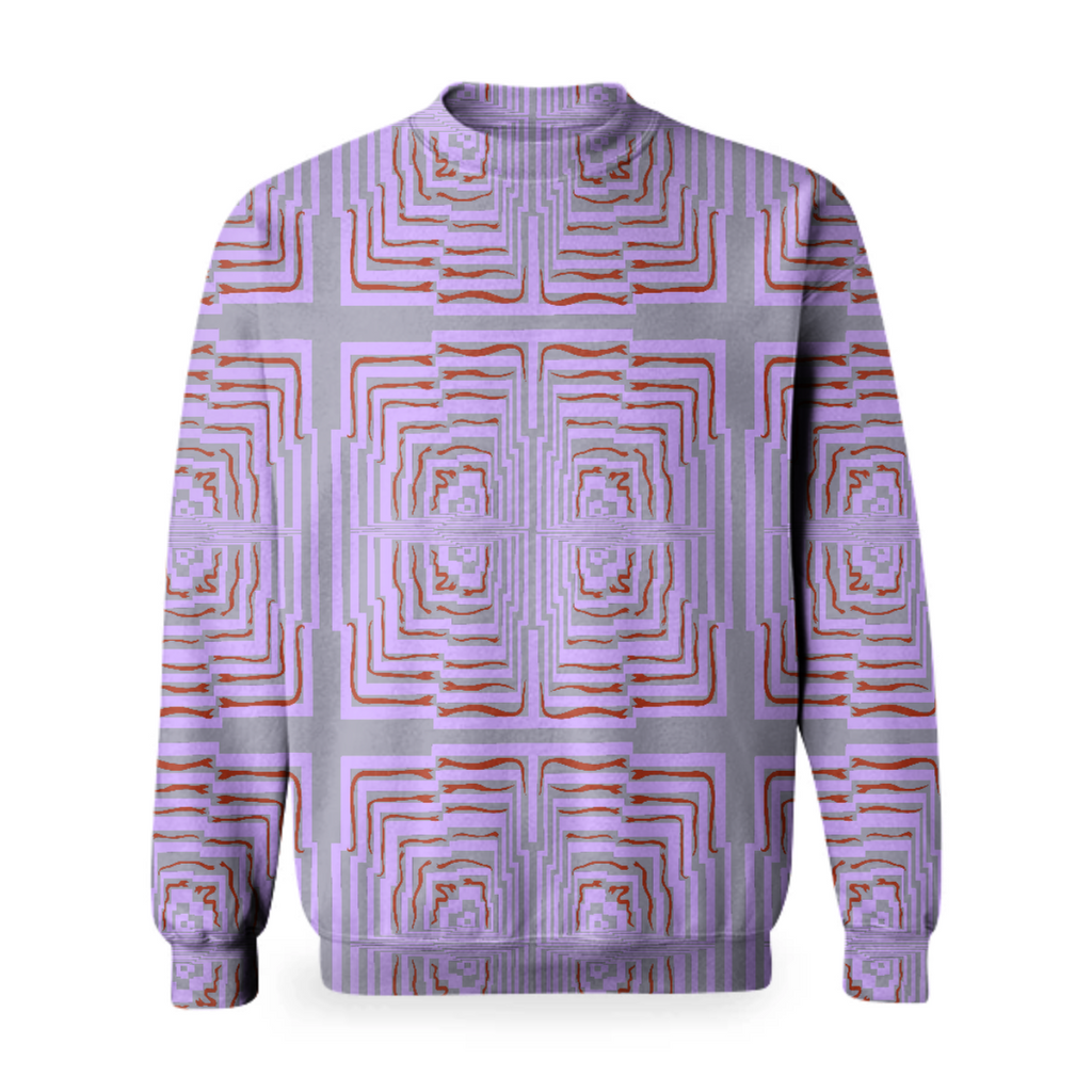lavender geometric/ red snakes