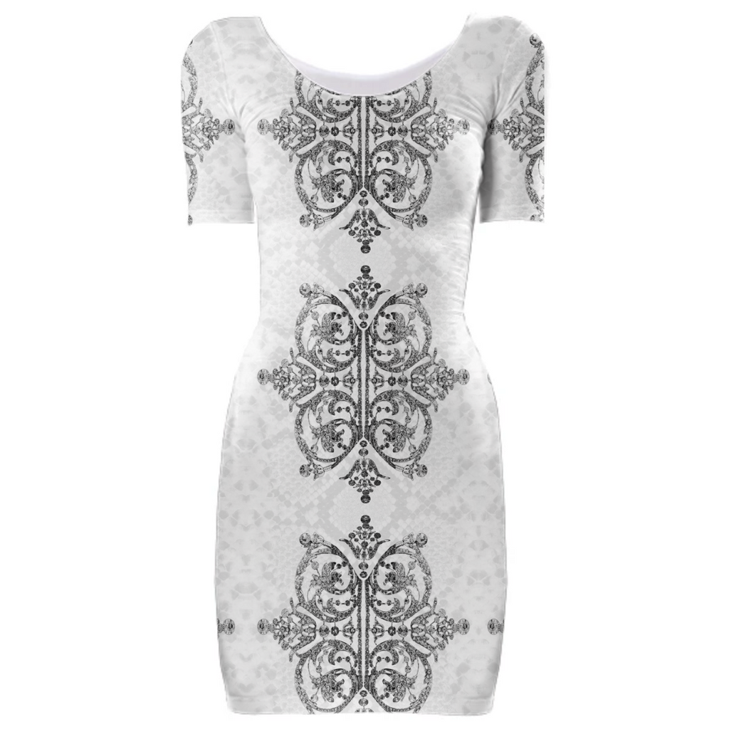 Diamonds and Python Ivory Bodycon Dress