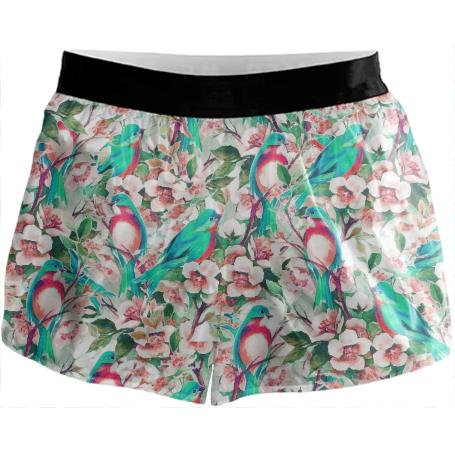 Birds Flowers Running Shorts