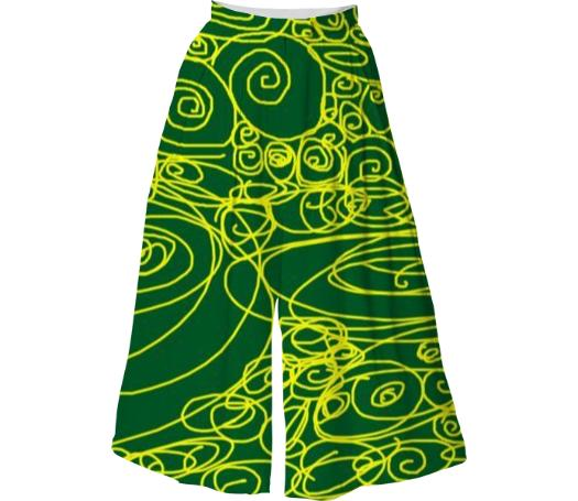 Losel Forest Green Gold Movements Skirt