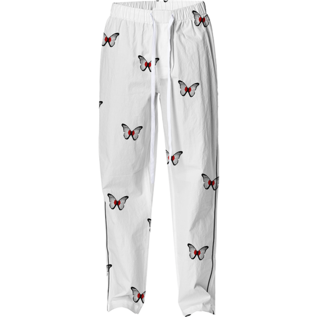 Butterfly pajama pants white