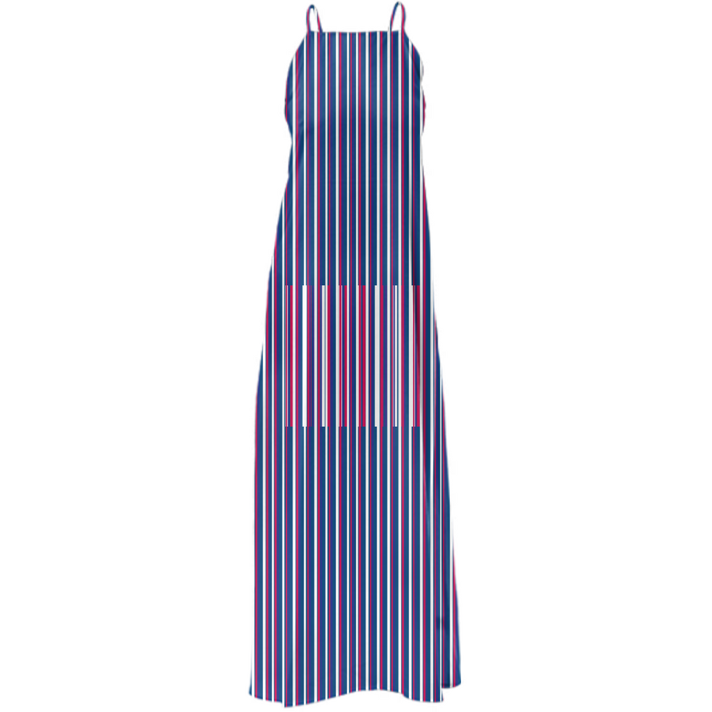 Stripe Blue White Red Marine Themed Poly Twill MAxi Dress