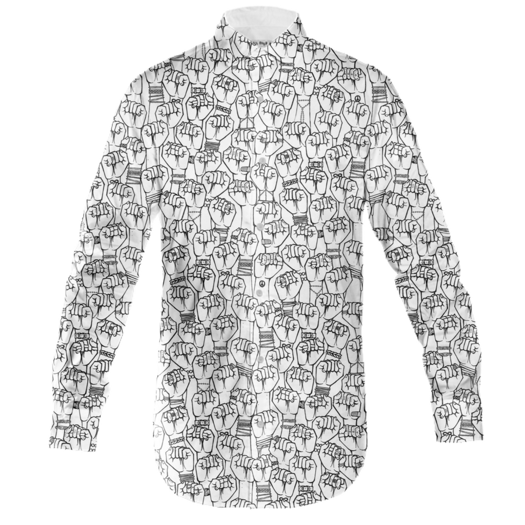 UNIQUE FIST PRINT LS COLLARED SHIRT