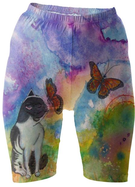 Cat and Monarchs Bike Shorts