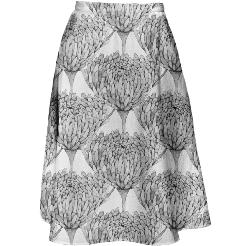 Chrysanthemum Crowd Midi Skirt