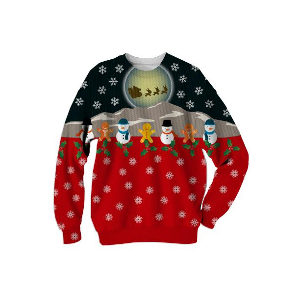 Christmas Knitted Effect Ugly Sweater