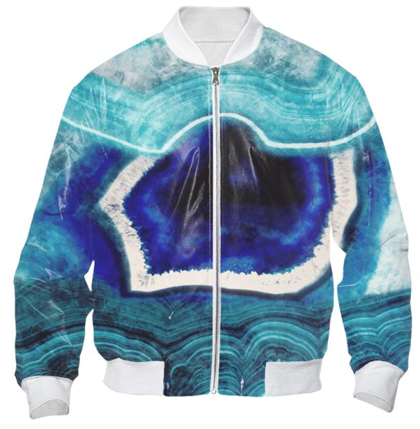 Abstract Blue Agates Bomber Jacket