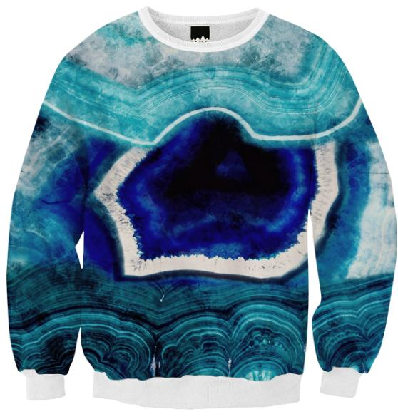 Abstract Blue Agates Ribbed Sweatshirt