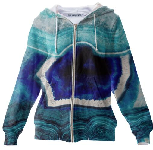 Abstract Blue Agates Zip Up Hoodie