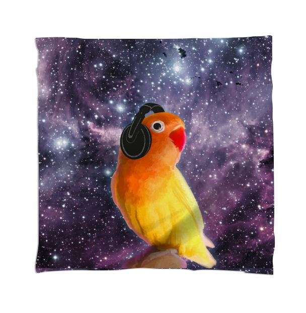 Space Bird Listening to Music Scarf
