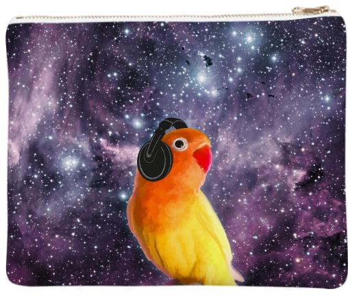 Space Bird Listening to Music Neoprene Clutch