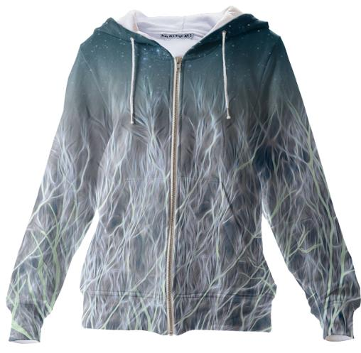Abstrac Magic Energetic Ice Forest Zip Up Hoodie