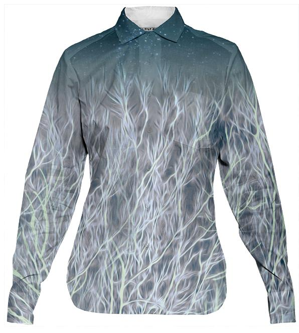 Abstrac Magic Energetic Ice Forest Women s Button Down