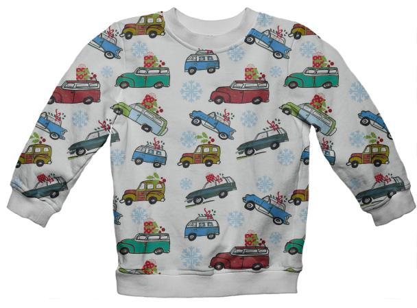 Vintage Christmas Cars Holiday Sweatshirt
